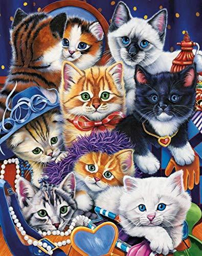 5D Diamond Painting DIY Round Diamond Painting Eight Kittens 31X40cm Rhinestone Embroidery Cross Stitch Mosaic Art Ornaments Kids Gifts