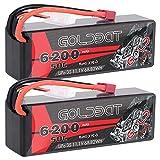GOLDBAT 3S RC LiPo batería 11.1V 50C 6200mAh Estuche rígido para batería Lipo con Enchufe Dean para RC 1/8 1/10 vehículos Coche/camión, Barco RC, Heli Evasor de Coche Car RC Racing Hobby 2 Packs