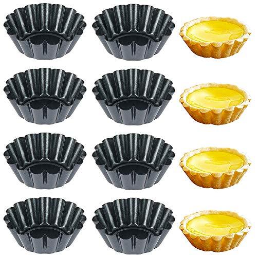 Molde de Tarta de Huevo - FANDE 8 Piezas Redondas Antiadherente Tarta de Huevo Molde de Pastel de Lata Cupcake Pudín Tartaleta Molde Para Muffin Tazas de Pastel 2.5 x 0.8 Pulgadas