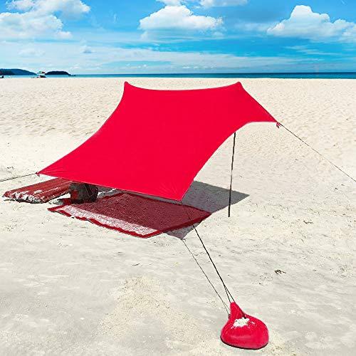 XISHUAI Strandzelt mit Sand Anker - Portable Strandmuschel uv Schutz mit 100{da2ae0c10d576b530de66d915ed21cb89da917213ff655f1753f366b4a7e116d} Lycra - Sonnensegel für 2-4 Personen 210 X 210 cm für Strand Camping Wandern Angeln Picknick