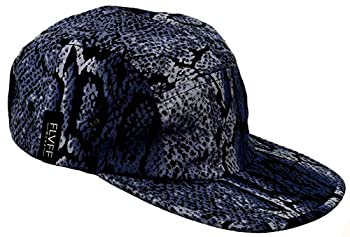 FLVFF 5 Panel Hat for Men Women Flat Brim Baseball Cap Urban Street Camper Hats  P2   Snake Skin Purpblue