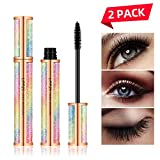 4D Silk Fiber Eyelash Mascara Waterproof - Thick Long Lasting Smudge-Proof 4D Fiber Mascara, Lengthening Curling Lashes, All Day Exquisitely Lush, Extra Long 4D Mascara, Black, Pack of 2 (Pattern B)