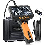 Dual Lens 4.5' IPS Screen, Teslong NTS300 Inspection Camera 8MM Dia, Industrial Endoscope-Borescope, 720P HD Image, LED Flashlights, 32GB Card, Tempered Glass, 10ft Cable
