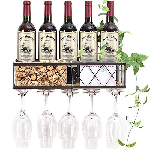 Kingrack - Portabottiglie da parete, in metallo e legno, con supporto in vetro e sughero, porta bottiglie di champagne, porta vino rustico, mensola galleggiante per cucina, casa, soggiorno