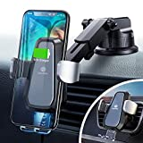 DesertWest Wireless Car Charger Mount Auto Clamping Sensor Dashboard Vent Cell Phone Holder, Qi Fast Charging Compatible with iPhone, Samsung Galaxy, Huawei, LG, Smartphones