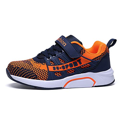 Unisex-Kinder Sneakers Laufen Schuhe Sportschuhe Sneakers Jungen Mädchen Low-Top Sneakers (31 EU, W012-Blaue Orange)