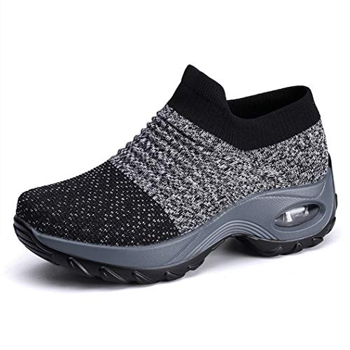 UareMgic Womens Nurse Shoes Walking Sock Sneakers Knit Platform Air Cushion Slip On Fitness Sneaker Work Shoes, Grey, 9