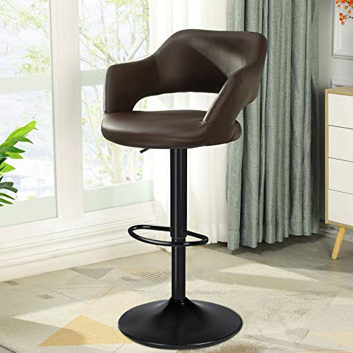 DICTAC Leather Bar Stool with Rounded Back Adjustable Bar Stool Swivel Bar Chair with armrest Breakfast Bar Stools for Kitchen Island, Counter,Capacity 400 lbs, Chocolate