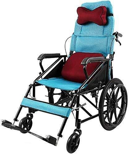 Busirsiz Silla de ruedas Confort Semi-Lide Transporte Luz Plegable Portátil Ancianos Discapacitados Scooter Silla de Viaje Llevar Reposacabezas Almohada Azul