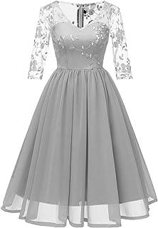 0195f58bcc99 Women Long Dress Daoroka Sexy Fashion V-Neck New Vintage Lace 3/4 Sleeve