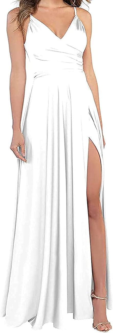 LINDO NOIVA Long V Popular popular Neck Stra Bridesmaid Chiffon Spghetti Washington Mall Dresses