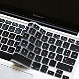 Spanish Language Silicone Keyboard Cover Skin for MacBook Air 13' MacBook Pro with or Without Retina Display 13' 15' 17' Apple Wireless Bluetooth Keyboard MC184LL/B Ultra Thin (Black)