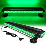 26' 54 LED 7 Flash Mode Traffic Advisor Double Side Emergency Warning Security Vehicle Roof Top Strobe Light Bar with Magnetic Base for Undercover or Tow Truck Construction (Green)
