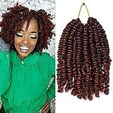 6Inch 5 Packs Curly Pre-twisted Bob Spring Twist Crochet Hair Ombre Crochet Twist Braids Synthetic Crochet Hair Extensions 20 Strands/Pack Fiber Fluffy Curly Twist Braiding Hair(1B/350#)