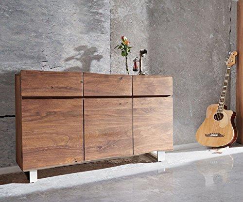 DELIFE Kommode Live-Edge Akazie Braun 147 cm 3 Türen 3 Schübe Baumkante Sideboard