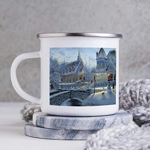 Taza esmaltada de 10 oz para acampar, taza de café esmaltada para acampar, taza de café al aire libre, ciudad romántica con vista a la nieve, la niña hace un muñeco de nieve, vasos con asa, para uso d
