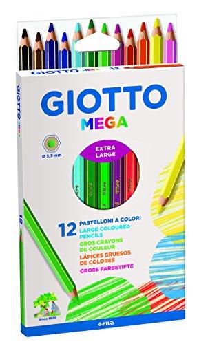 Giotto 225600 - Mega Astuccio 12 Maxi Pastelloni Colorati