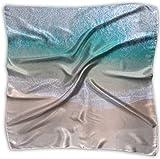 Pañuelo cuadrado elegante de poliéster con vista aérea de playa tropical para mujer