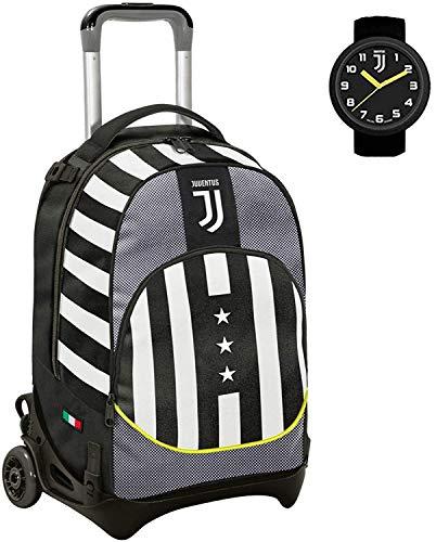 seven. Zaino Scuola Trolley Juve Sganciabile 50x38x26 cm Bianco Nero con Orologio Incluso