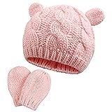 Bebé Sombrero y Guante, Sombrero Cálido de Invierno para Bebé, Gorro de Punto para Bebé Recién Nacido, Gorro de Ganchillo para Niño Pequeño para Niños Unisex(Rosa(Hut+Handschuhe), 3-6 meses)