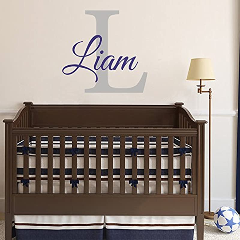 Monogram Name Vinyl Wall Art Initial Name Wall Decal Children Wall Decal For Baby Boy Girls Bedroom Nursery Navy Blue Slate Gray 22 H X 28 5 W