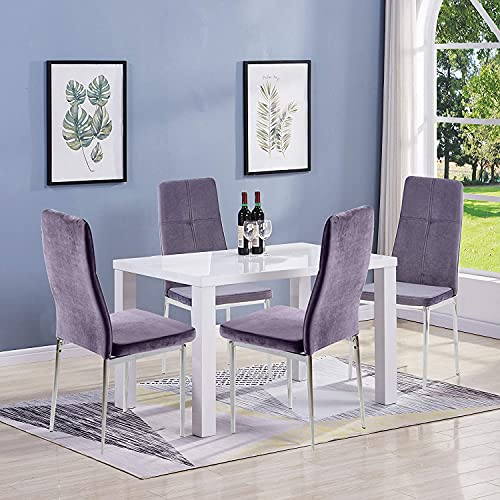 GOLDFAN Rectangular Dining Table with 4 Chairs Modern High Gloss Wooden Kitchen Table and Leather Chairs for Dining Room Living Room Office, White& Gray