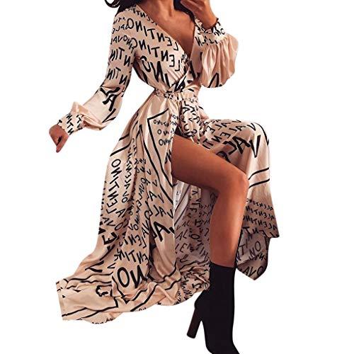kingko  Damen Punkte Kleid V-Ausschnitt Sommerkleider Kurzarm Freizeitkleider Midi Strandkleid mit Gürtel Boho Maxilang Chiffon Abendkleider (Beige, XL)