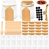 empty jam jars - Folinstall 20 Pcs 4 oz Glass Jars with Lids - Yogurt Container - Yoghurt Jars for Jam, Spices, Gift Holder. Extra 20 Cork Lids, Chalkboard Labels, Tag Strings and 20 Wooden Spoons Included