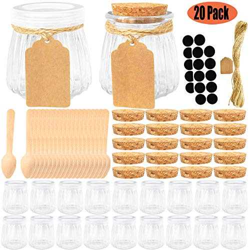 20 Pcs 4 oz Glass Jars with Lids, 20 Cork Lids, Chalkboard Labels, Tag Strings and 20 Wooden Spoons Included