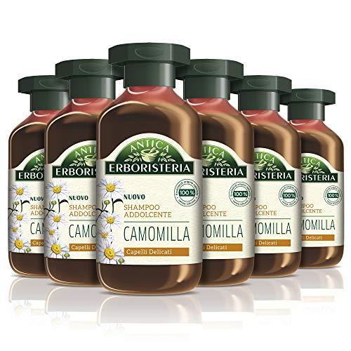 Antica Erboristeria Shampoo Addolcente Camomilla, per Capelli Delicati, con Ingredienti Naturali, 6 Pezzi x 250 ml