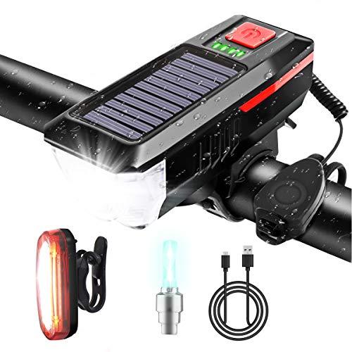 Hootracker LED-Fahrradlicht für Fahrrad, wiederaufladbar, USB, Solarenergie, mit Glocke, für vorne und hinten, wasserdicht
