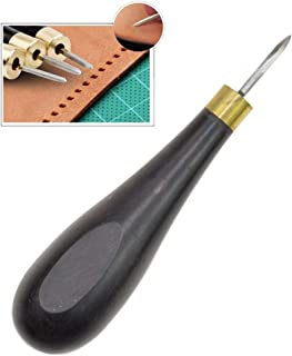 Aiskaer 1 Pcs Leather Craft Ebony Rhombus Awl DIY Leather Stitching Sewing Awl Leathercraft Reaming Punch Tool