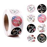 Pegatinas de agradecimiento con diseño de flores, 1 Small Business Boutique Bag Decorativas, 500 pegatinas redondas para tarjetas de agradecimiento, paquetes, regalos, boda (naranja) (Blanco)
