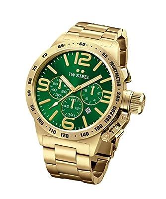 TW Steel Canteen Unisex reloj de cuarzo con esfera analógica y verde oro acero inoxidable chapado en oro pulsera