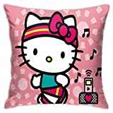 TBLHM Hello-Kitty Funda de cojín Cuadrada, 45,7 x 45,7 cm, para Sala de Estar, sofá, Dormitorio, con Cremallera Oculta, decoración del hogar