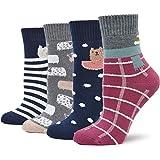 Calcetines Mujer Termicos Algodón Dibujos Animados Calcetines Para Invierno Otoño,Gruesa y Cálido,Estilo festival de navidad,4/5 pares, tallas EU35-41