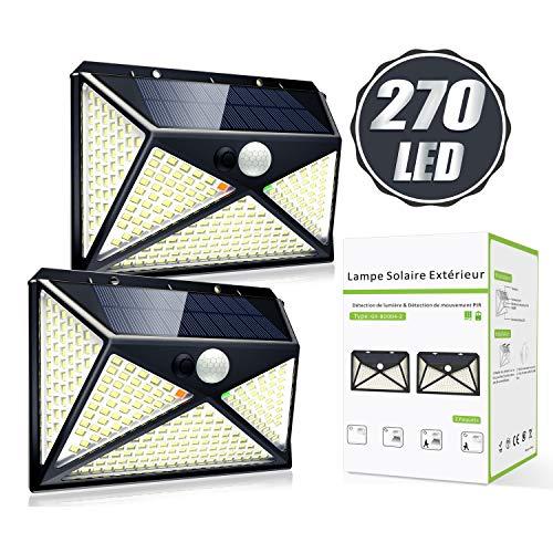 2 x Solarleuchte für Außen mit Bewegungsmelder, 270 LED und 4 Modi Solarlampen, 300° Beleuchtungswinkel und IP65 Wasserdicht Wandleuchte Außenbreich Garten [2000mAh]