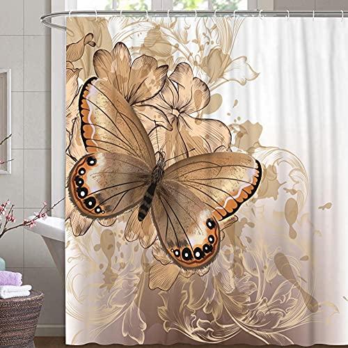 M&W DAS DESIGN Cortina de ducha, diseño de flores y mariposas, resistente al moho, incluye 12 anillas en forma de C, peso inferior 180 x 200 cm (ancho x alto) cm