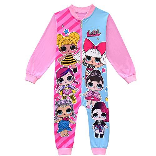 ShiJinShi LOL Surprise Schlafanzug für Mädchen, 3-8 Jahre, Rosa / Rot Gr. 7-8 Jahre, rose