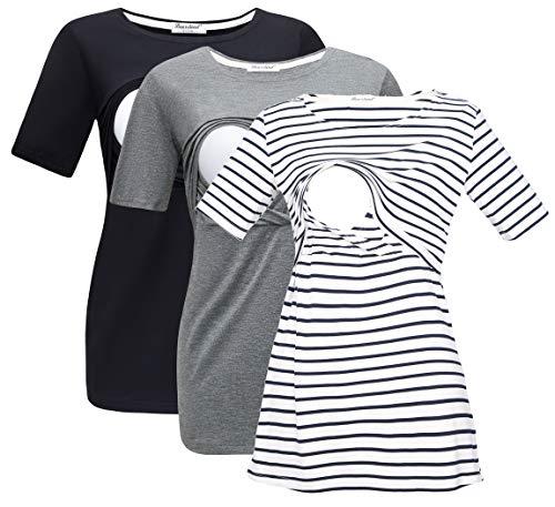 Bearsland Women's 3 Packs Maternity Nursing Tops Short Sleeve Breastfeeding Shirts,blackgreyblawhitestrip,S
