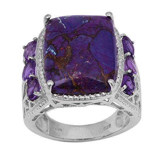 Shine Jewel Turquesa púrpura y Amatista Piedra Hombres Anillo 925 Joyas de Plata (23)