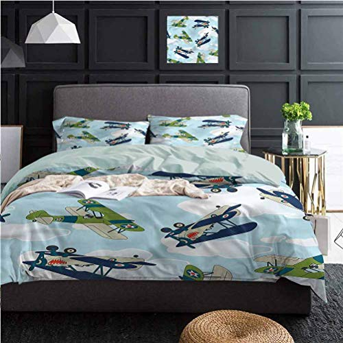 Airplane 3-Piece Quilt Set Duvet Cover Retro Plane Cartoon Style Best Material/Highly Durable | 1 Duvet Cover + 2 Pillow Shams Twin Size