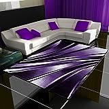 HomebyHome Moderner Design Teppich Wellen Teppich Kurzflor Wohnzimmer versc. Farben Größen, Farbe:Lila, Größe:120x170 cm