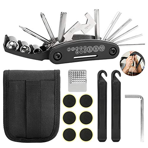 Intsun Bike Repair Kit 16-in-1 Multi-Function Mountain Bike Tools Kit Set Portable Bicycle Kit Bike Allen Wrench Set with Tire Patch Lever Tools Bag for Outdoor Cycling Household Repairing