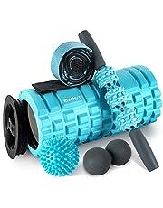 Foam Roller 2-in-1 spiermassage roller 5-delige fitnessset voor diepe weefselspiermassage, massagesticker twee massageballen en stretchriem voor sportschool, yoga, pilates en hardlopers therapie revalidatie