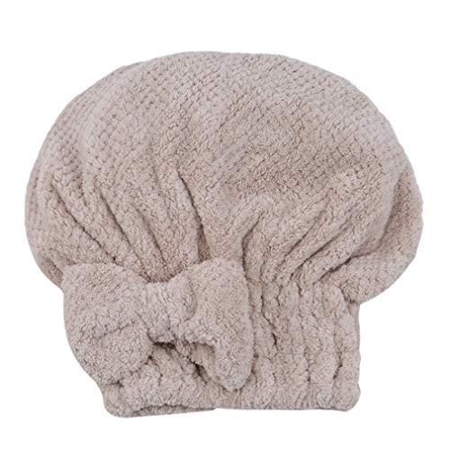 LWANFEI Bow Shower Cap Trockenes Haar Hut Frauen Cute Bowknot Hair Drying Towel für Bad, Spa, Make-up, Beige