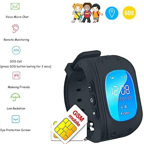 Winnes Bambini GPS Orologi Smartwatch Supporto GPS/GPRS/SOS,Portable Q50 Electronic Device,Proteggi il tuo Bambini smartwatch GPS Tracker Tracking in Tempo Reale (Nero)