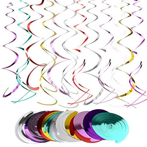 Hängende Spiralen, 14 Stück Wirbel Deko Party, Multicolor Spiralen Luftschlangen für Hochzeit Geburtstagsfeier, Babyparty, Chirstmas