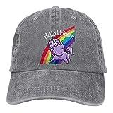 JONINOT Hola Unicornio más preciso Carbono alterado Vintage algodón Lavado Hombres Mujeres Gorra de béisbol Distressedhats Ajustable papá-Sombrero