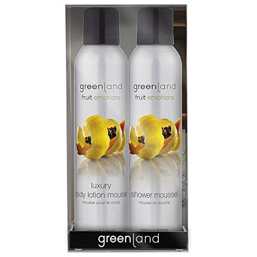 Greenland Mousse Sensation Geschenkset Papaya Zitrone| Erfrischendes Duschgel und Bodylotion| Wohltuendes Schaumcreme Set| Vegan & Ohne Tierversuche